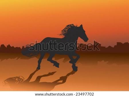 wild horse running through the desert in the evening - stock vector