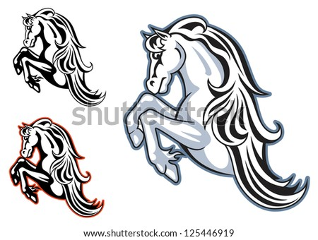 Wild horse stallion for mascot or tattoo design, such as idea of logo. Jpeg version also available in gallery - stock vector