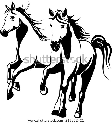 wild horses - black and white vector illustration - stock vector