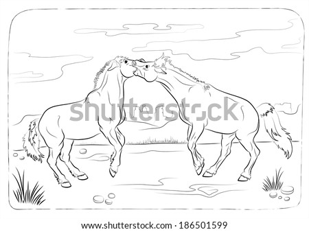 Thoroughbred english horse old illustration by stock photo for Thoroughbred coloring pages