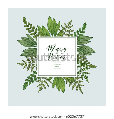 Wild leaves wedding invitation vintage floral stock vector royalty wild leaves wedding invitation vintage floral design template vector illustration stopboris Image collections