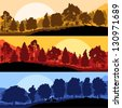 Wild mountain forest nature landscape scene collection background illustration vector - stock photo