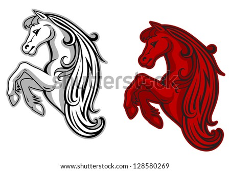 Wild mustang in white and red color for mascot design. Jpeg version also available in gallery - stock vector