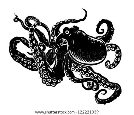Wild ocean octopus with long tentacles for sea life design. Jpeg version also available in gallery - stock vector