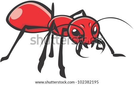 Wild Red Ant Illustration - stock vector