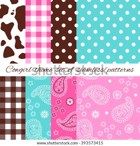 Wild West and Western Cowgirl sweet style design theme set of seamless patterns with cowhides and bandana - stock vector