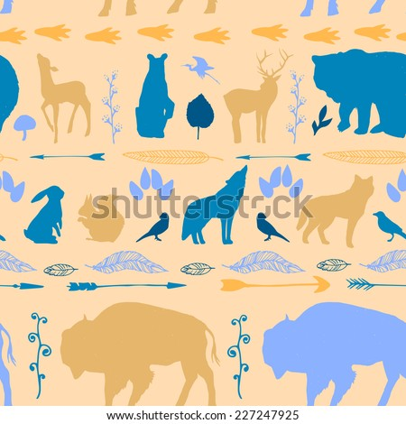 Wild West animals pattern. Bright seamless hand drawn texture with feathers, arrows, bear, wolf, bison, deer and other animals.  - stock vector
