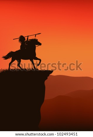 wild west background - native american chief riding a horse - silhouette on top of a cliff against sunset sky - stock vector