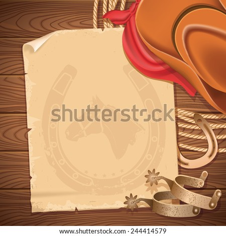 Wild west background with cowboy hat and American lasso.Vector old paper for text on wood table - stock vector