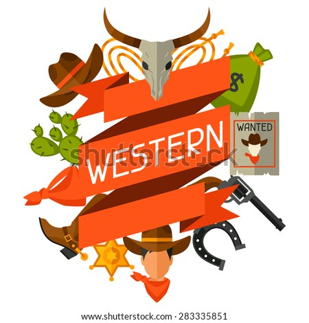 Wild west background with cowboy objects and design elements. - stock vector