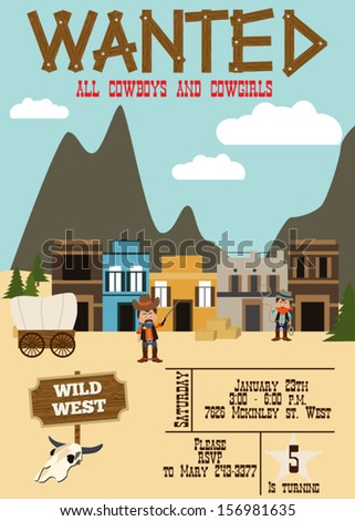 Wild West birthday party invitation - stock vector