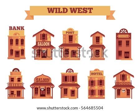 Wild West Building Set Game Level Stock Vector  Shutterstock
