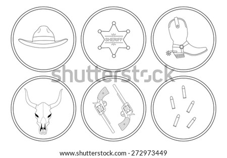 Wild west contour lines objects set. Vector clip art illustrations isolated on white - stock vector