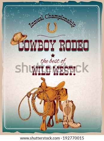 Wild west cowboy colored hand drawn rodeo poster vector illustration - stock vector
