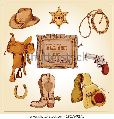 Wild west cowboy colored hand drawn set with boots flask gun isolated vector illustration - stock vector