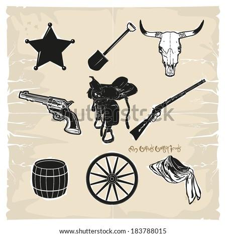 Wild West cowboy icons, vector - stock vector