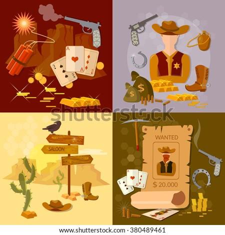 Wild west cowboy set western sheriff bandit vector illustration - stock vector