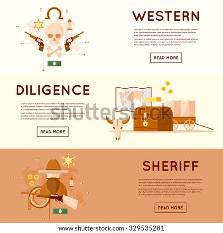 Wild west cowboys, diligence driven by gold, sheriff, skull with pistols, a chest of gold. Flat style vector illustration. - stock vector