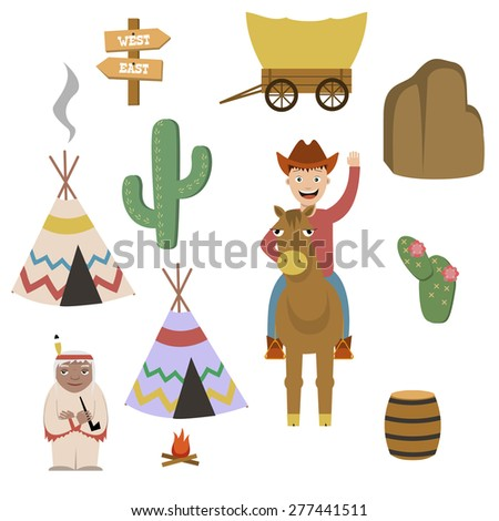 Wild West elements - stock vector