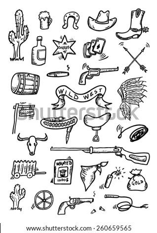 Wild West Hand Drawn Set - stock vector