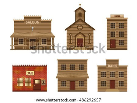 Wild West Houses Set Residential Building Stock Vector