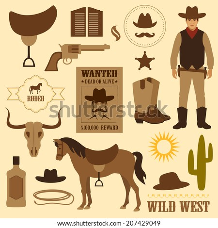 wild west icon, western wanted cowboy poster - stock vector
