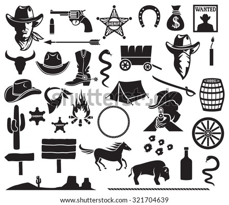 wild west icons set (cowboy head, horse, gun, arrow, cactus, sheriff star, hat, boot, horseshoe, bison, dynamite, bull skull, tent, wanted poster, money bag, barrel, campfire) - stock vector