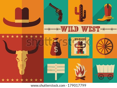 Wild west icons.Vector illustration of cowboy objects in flat design style - stock vector