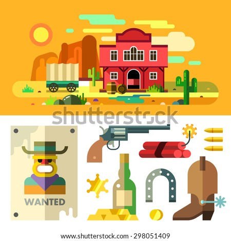 Wild West landscape, icons, objects and elements: revolver, wagon, dynamite, bullets, horseshoe, saloon, house, mountains, desert,  gold bar. Gold Rush. Poster bandit wanted. Flat vector illustration. - stock vector