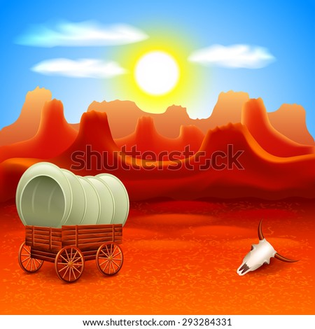 Wild west landscape with old wagon in mountains vector background - stock vector