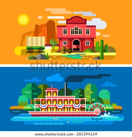 Wild West landscapes: sunset in desert, mountains, town, saloon, cactus, wagon,  steamboat on river, trees. Sceneries of America, Wild West. Set of colorful vector flat illustrations and backgrounds. - stock vector