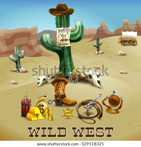 Wild west realistic background with cactus gold lasso and desert vector illustration  - stock vector