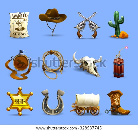 Wild west realistic icons set with cowboy hat dynamite and cactus on blue background isolated vector illustration  - stock vector