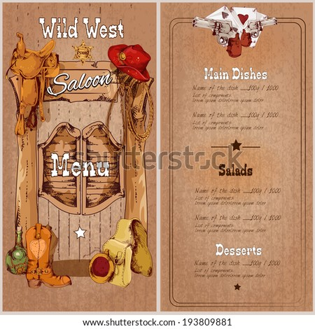 Wild west saloon restaurant menu template with saddle cowboy hat sheriff badge vector illustration - stock vector