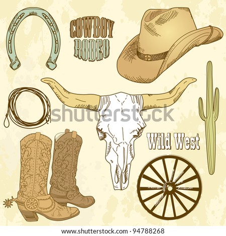 Wild West Set - stock vector