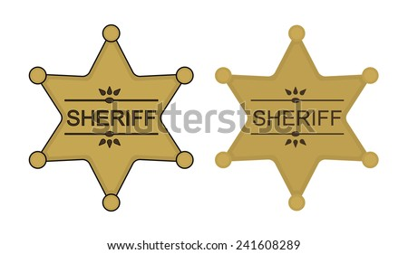 Wild west sheriff gold star badge icon. Vector clip art illustration isolated on white - stock vector