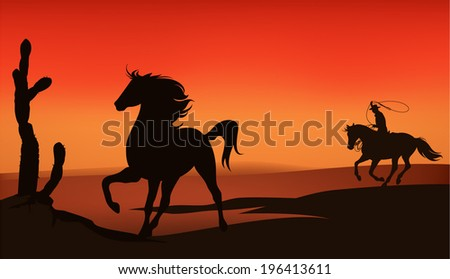 Wild west sunset landscape - cowboy chasing a mustang horse - stock vector