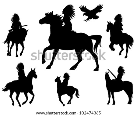 wild west theme vector silhouettes - native americans riding horses and wingspread eagle