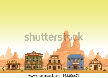 Wild West town - stock vector