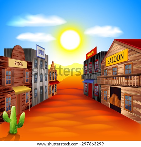 Wild west town photo realistic vector background - stock vector