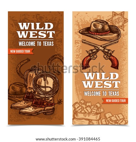 Wild west vertical banners with cowboy accessories and crossed pistols on template background hand drawn vector illustration - stock vector