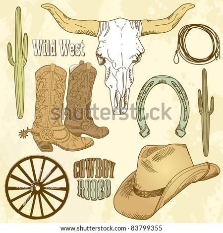 Wild West Western Set - stock vector