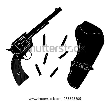 Wild west wood handle revolver with holster and bullets. Vector black color silhouette clip art illustration isolated on white  - stock vector