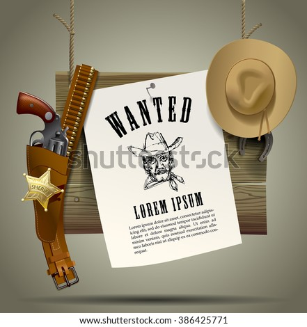 Wild West wood signboard with a sheet and cowboy accessories suspended on a rope. Wild West Relay Poster. Vector illustration - stock vector