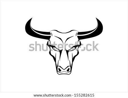 Wild White Bull with the Black Horn