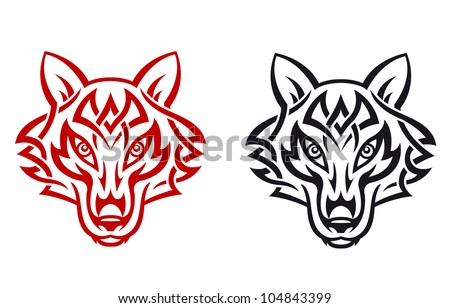 Wild wolf for tribal tattoo. Vector illustration - stock vector