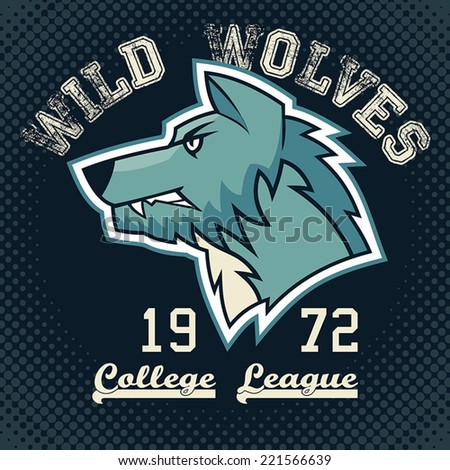 Wild wolves sports mascot college league t-shirt graphic - stock vector