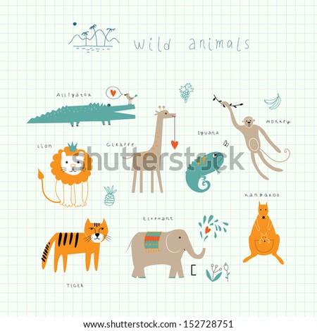 Wildlife. Funny animals in vector. - stock vector