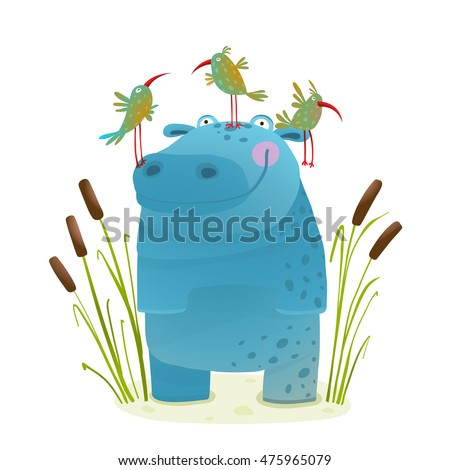 Wildlife Hippo with Cute Birds Smiling Kids Friends. Happy hippopotamus watercolor style animal in the wild. Behemoth for children cartoon illustration. Vector drawing.