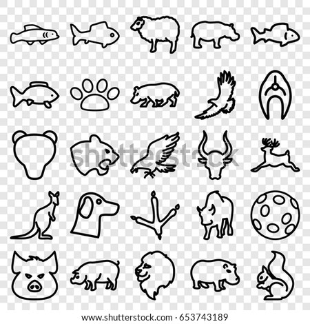 Wildlife icons set. set of 25 wildlife outline icons such as lion, pig, eagle, panther, footprint of  icobird, sheep, squirrel, bull, deer, hippopotamus, cangaroo, buffalo